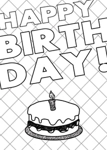 Printable Coloring Card Download - Happy Birthday/Cake