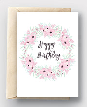 Printable Card Download - Happy Birthday Pink & Mint Floral Wreath