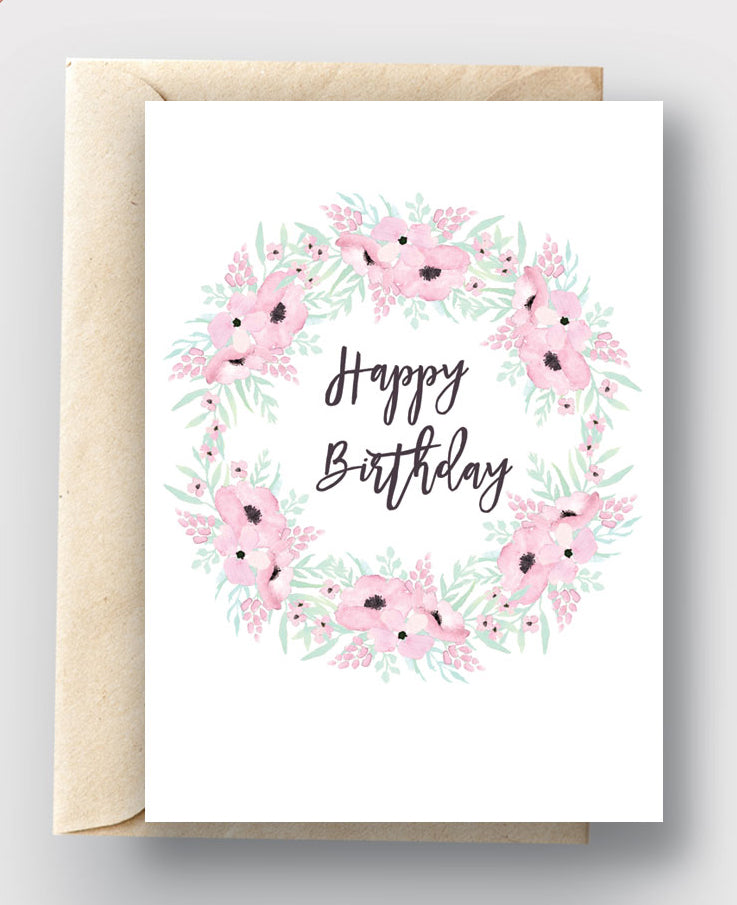 picture relating to Wreath Printable called Printable Card Down load - Pleased Birthday Purple Mint Floral Wreath