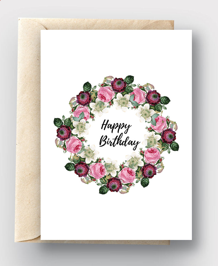 Printable Card Download - Happy Birthday Pink & Burgundy Floral Wreath