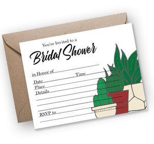 Bridal Shower House Plants Fill-In Invitation - Printable Download PDF