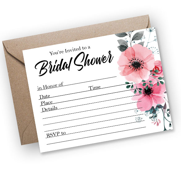 Bridal Shower Pink Floral Fill-In Invitation - Printable Download PDF