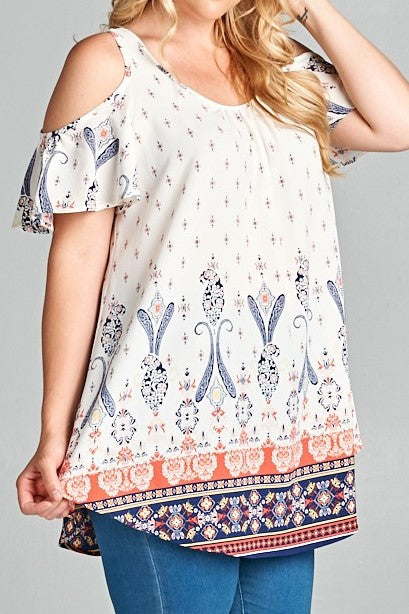 Curvy White/Coral Multi Paisley Printed Cold Shoulder Boho Tunic Top