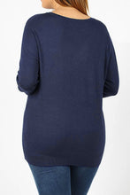 Curvy Navy V-Neck Sweater w/ Sleeve Accent Buttons