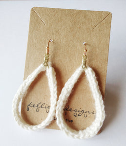 Ivory Crochet Teardrop Earrings