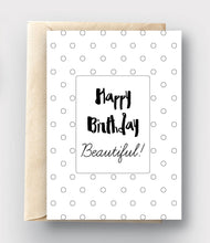 Printable Coloring Card Download - Happy Birthday/Polka Dots