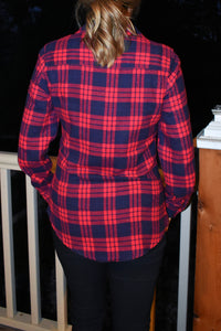 Red & Navy Plaid Flannel Shirt