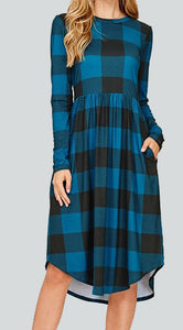 Teal & Black Buffalo Check Dress S-XL