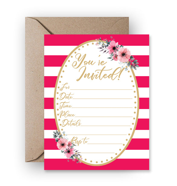 Any Occasion Fill-In Invitation, Pink Stripes & Floral - Printable Download PDF