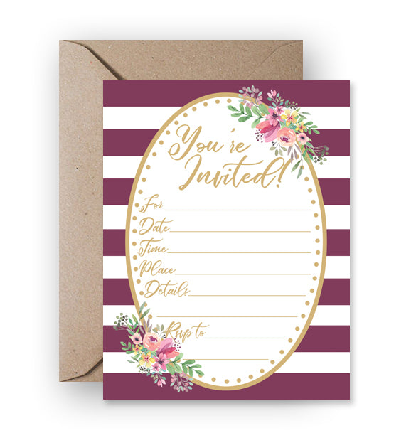 Any Occasion Fill-In Invitation, Purple Stripes & Floral - Printable Download PDF