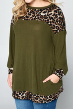 Curvy Olive Light Knit Tunic Top w/ Leopard Print Accents