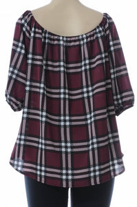 Curvy Plum Plaid Off-Shoulder Blouse