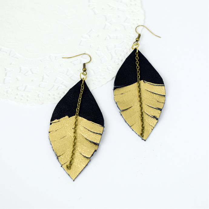 Gold Dipped Boho Chic Leather Feather Earrings