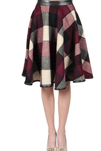 Burgundy Plaid Full Circle Skirt w/ Leather Accent