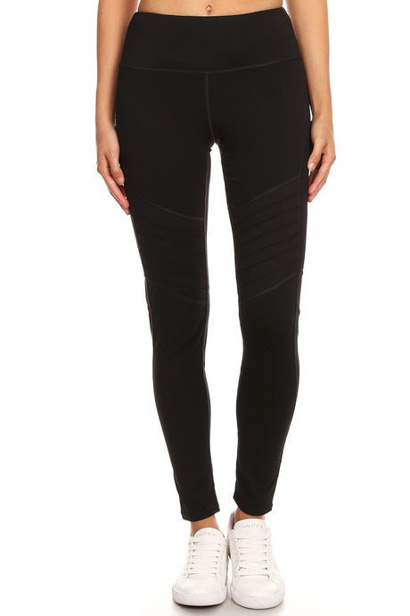 Black Moto Yoga Workout Leggings