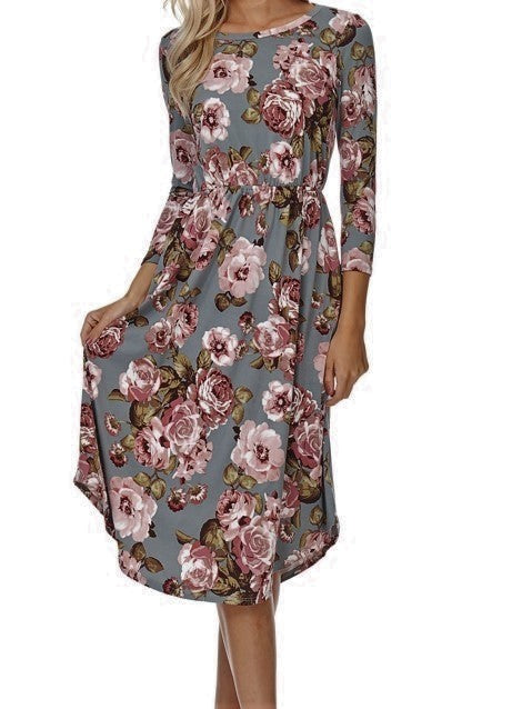 Grey Floral Jenna Dress S-XL