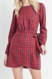 Red Plaid Wrap Style Dress