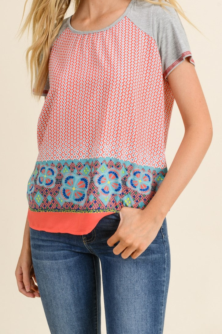 Coral Scarf Print Short Sleeve Top