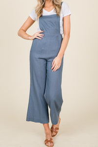 Chambray Blue Linen Capri Style Slim Fitted Overalls