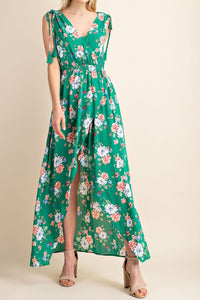 Green Floral Sleeveless Maxi Wrap Dress - S,M,L