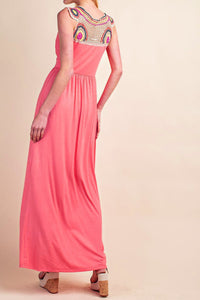 Coral Jersey Knit V-Neck Crochet Back Boho Maxi Dress - S,M,L