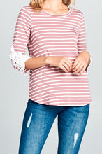Mauve Striped 3/4 Sleeve Top w/ Crochet Accent