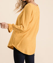 Mustard Swiss Dot V-Neck Blouse