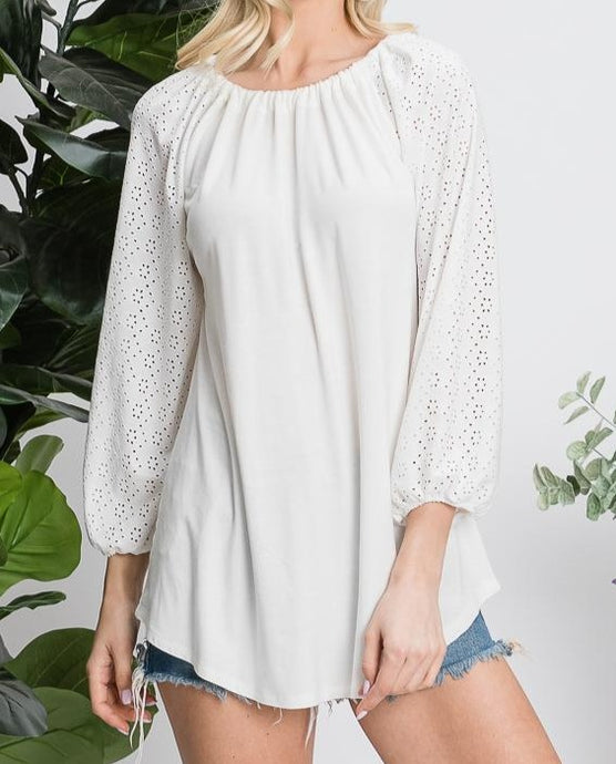 Soft White Blouse with Raglan Eyelet Sleeves