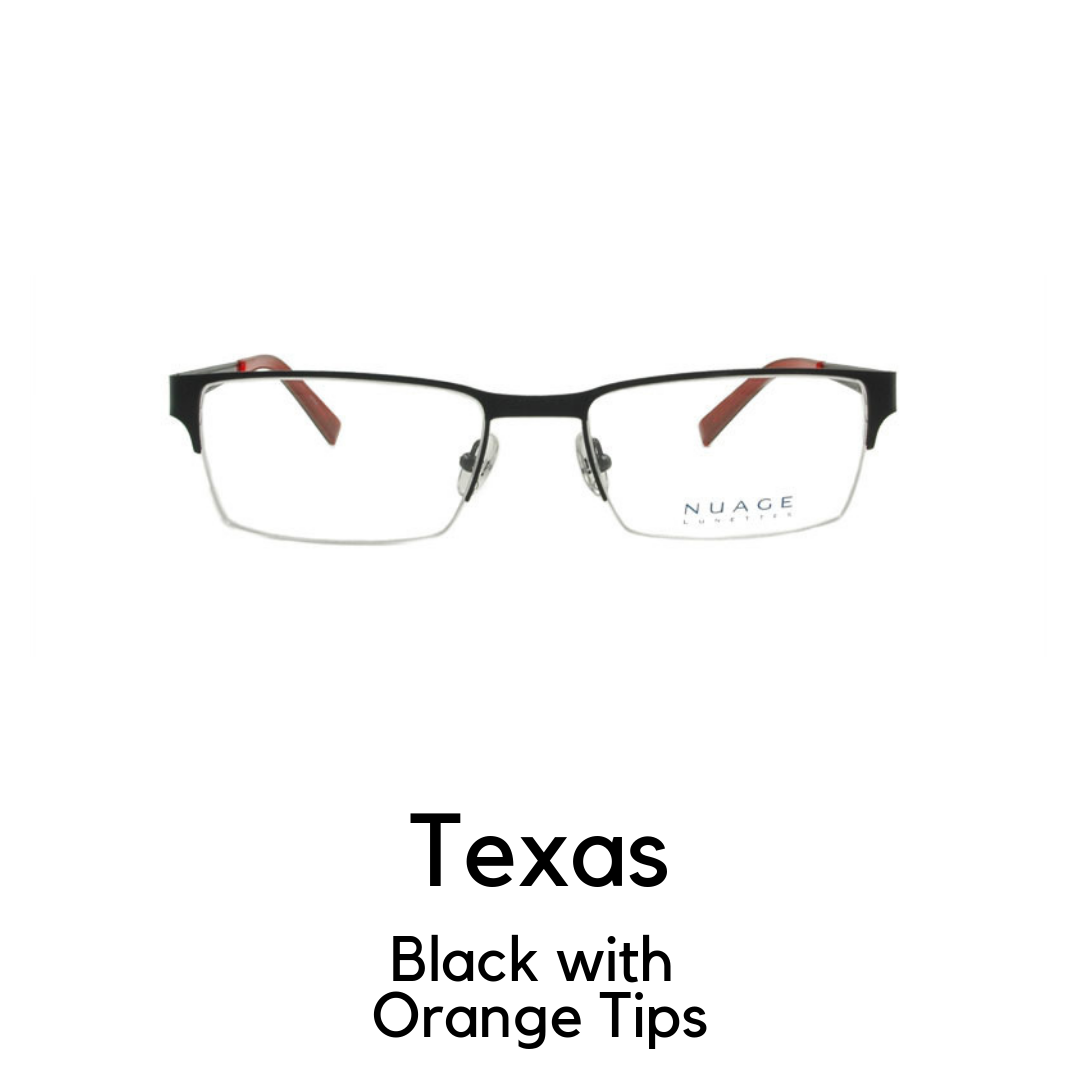 Texas in Black with Orange Tips