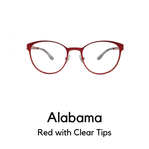 Alabama in Red with Clear Tips