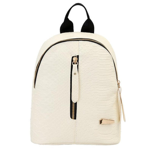 White Zipper Backpack