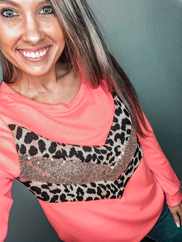 Neon Pink Sequin Leopard Pullover - The Pink Arrow Boutique