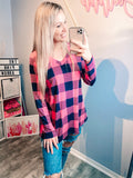 Pink & Navy Plaid Top
