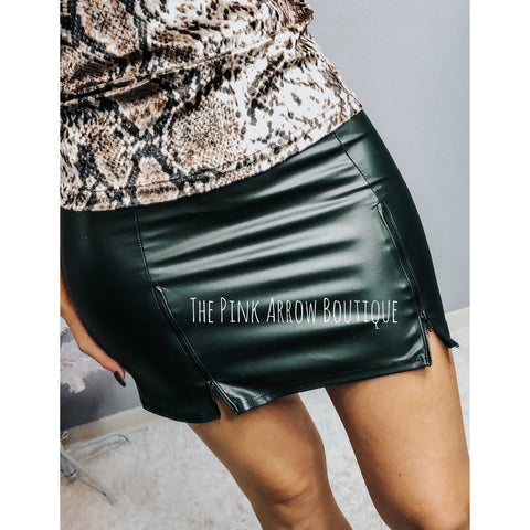 Two Zip Faux Leather Skirt