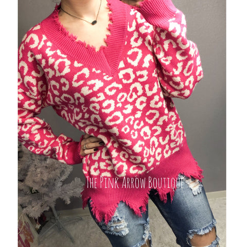 Hot Pink Leopard Frayed Sweater - The Pink Arrow Boutique