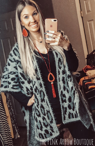 Fuzzy Leopard Cardi - The Pink Arrow Boutique