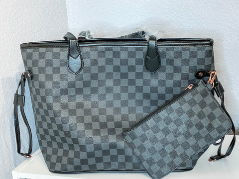Charcoal Checkered Tote