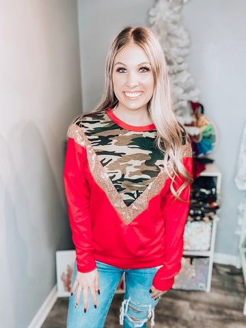 Red Camo Sequin Top