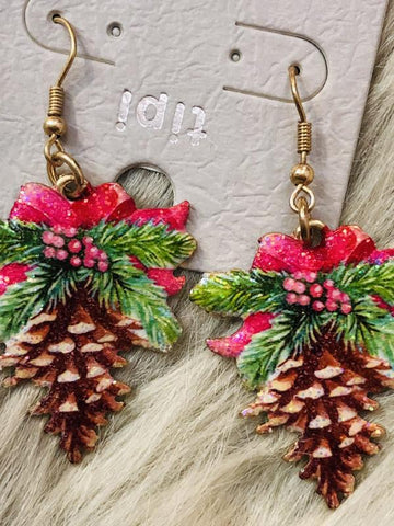 Christmas Pine Cone Earrings - The Pink Arrow Boutique