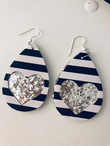 Striped Heart Cut Out Silver Glitter Earrings - The Pink Arrow Boutique