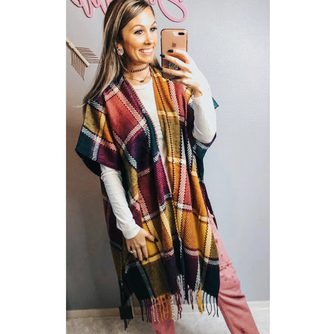 Burgundy Fringe Flannel Overlay - The Pink Arrow Boutique