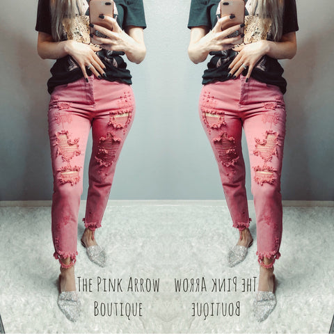 Pink Distressed Jeans
