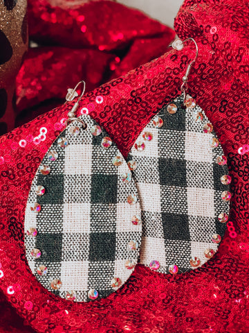 White Buffalo Plaid Crystal Earrings