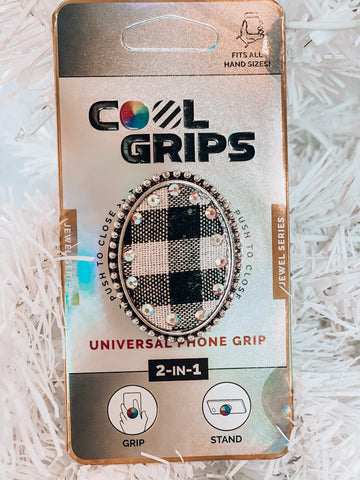 White Buffalo Plaid Phone Grip