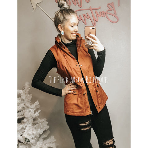 Rust Utility Faux Fur Lined Vest