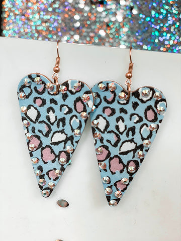 Heart Leopard Gem Earrings - Blue