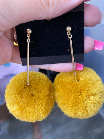 Mustard Pom Earrings