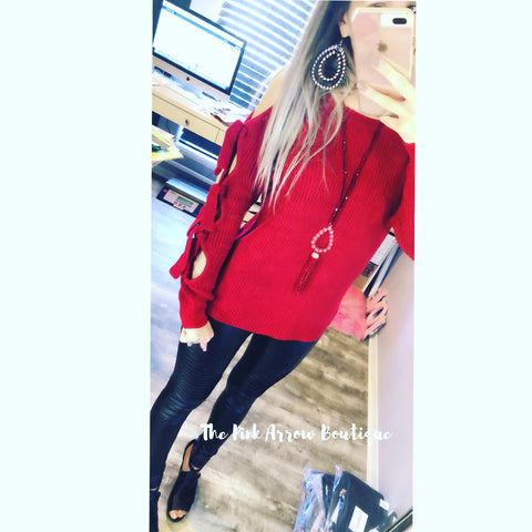 Red Tie Up Sleeve Sweater