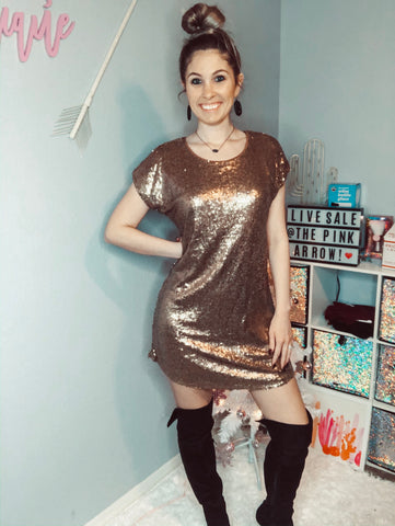 Bronze Sequin Dress - The Pink Arrow Boutique