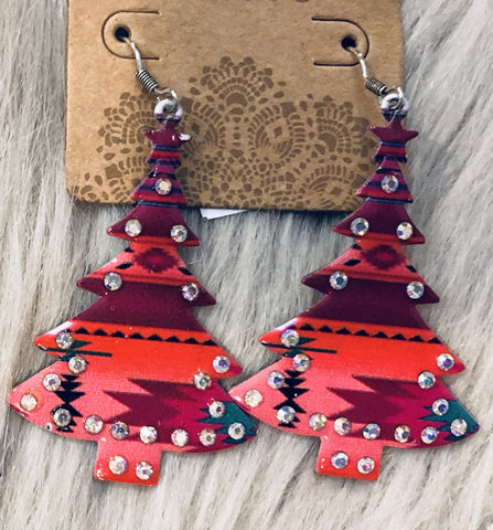 Aztec Christmas Tree Earrings - The Pink Arrow Boutique